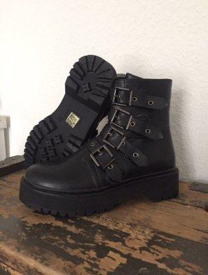 Coole Asos Boots Plateau Schnallen schwarz Gr:39 NEU