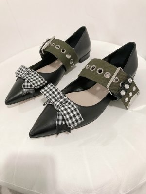 Miu Miu Strappy Ballerinas black-green grey