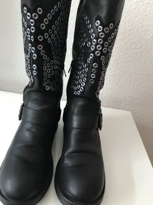 0039 Italy Biker Boots black leather