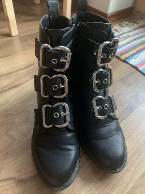 H&M Divided Ankle Boots black-silver-colored