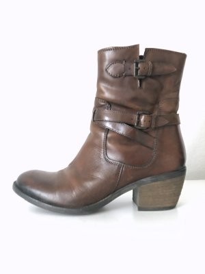 Western Booties black brown-cognac-coloured imitation leather
