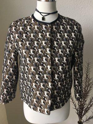 Coole Brokat Jacke mit Vogelmuster zum knöpfen