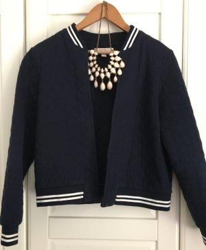 Esprit Chaqueta estilo universitario azul oscuro-blanco Algodón