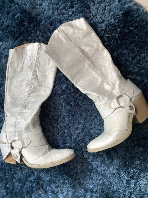 Buty w stylu western srebrny Skóra