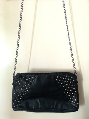 Coole Crossbody Bag von MANGO in schwarz mit Metallic/Strass Highlight