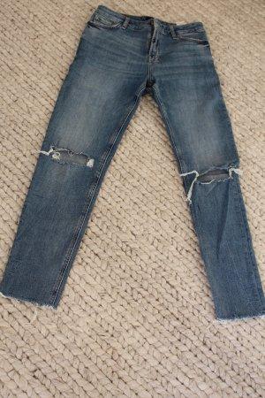 Pantalone a vita alta blu acciaio Cotone