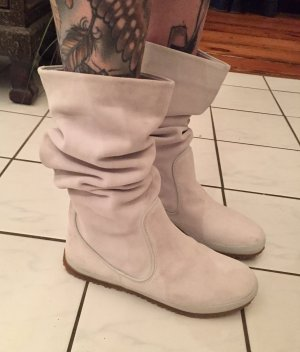 Fornarina Slouch Boots natural white leather