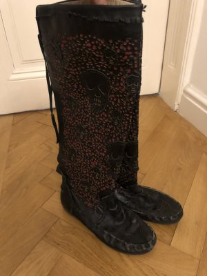 Gothic Boots black-red leather