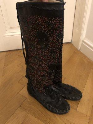 Botas góticas negro-rojo Cuero