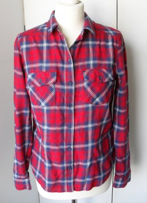 H&M Blusa a cuadros rojo-azul oscuro Algodón