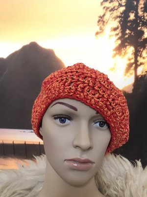 Handmade Crochet Cap red-orange cotton