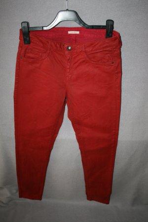 Esprit Pantalón de cinco bolsillos rojo oscuro