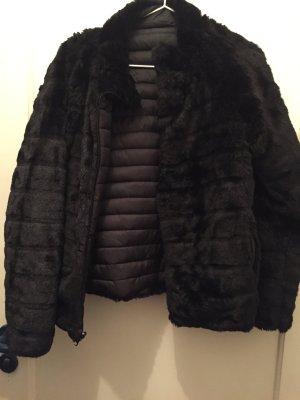 Podwójna kurtka czarny Tkanina z mieszanych włókien