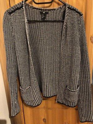 H&M Knitted Blazer white-black cotton