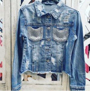 Coole Jeans Jacke mit Pailletten im Used Look Gr S/M blau