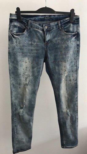 Coole Jeans mit Cuts und Nieten Stonewash Gr.42