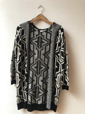 H&M Lang gebreid vest zwart-wit