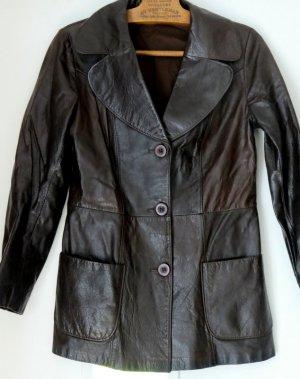 American Vintage Skórzana kurtka czarno-brązowy Skóra