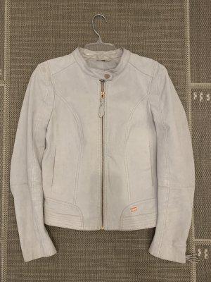 Coole Lederjacke weiß-grau