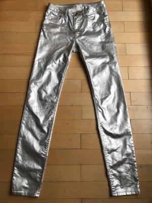 H&M Pantalon cigarette argenté-gris clair tissu mixte