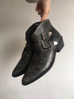 Stivaletto western nero-argento Pelle