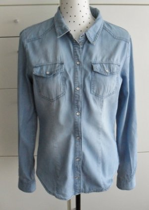coole Only Jeansbluse Gr. 40 Hellblau