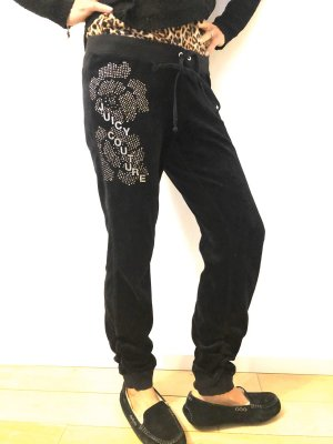 Coole Samt Niki Juicy Couture Hose mit seitlichen Raffungen am schmalen Bein schwarz M