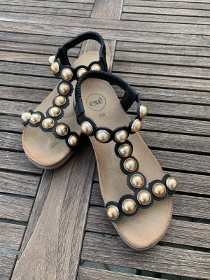 Exe Comfort Sandals black-gold-colored