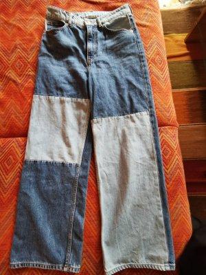Monki Jeans larghi blu acciaio-azzurro Cotone