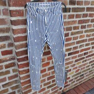 Zara Pantalon cigarette blanc-bleu