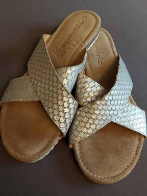 Tamaris Comfort Sandals white-silver-colored leather