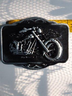 Unbekannte Marke Hebilla del cinturón negro-gris metal