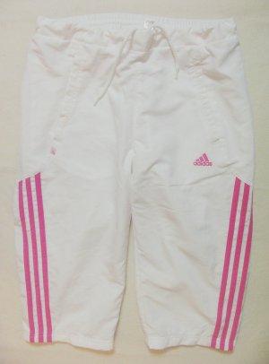 Coole, süsse 3/4 Sporthose..Capri..von ADIDAS in weiss mit rosa/pink, Größe DE 36