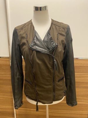 Coole Tigha Bikerjacke in Khaki aus Leder/Stoff - neu mit Preisetikett