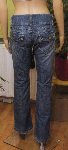 Coole Vintage Hüft-JEANS von FUGA, used look..bootcut..washed..blue, Größe W28/L32, DE 36