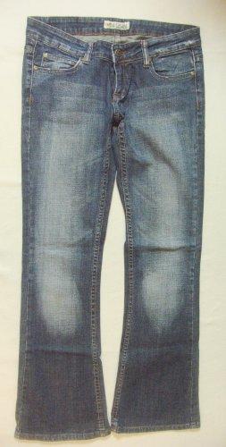 Coole Vintage Hüft-JEANS von MADONNA, used look..bootcut..washed..blue, Größe W28/L32, DE 36