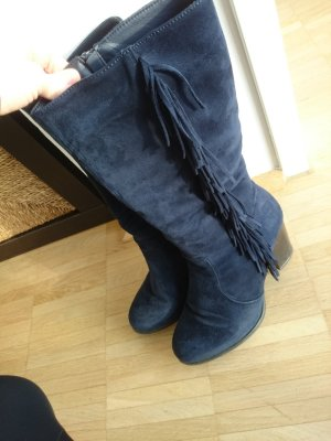 Botas estilo vaquero azul oscuro tejido mezclado