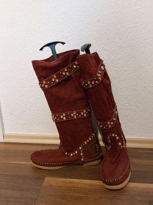 Botas estilo vaquero burdeos Cuero