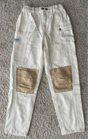 Bershka Pantalon kaki blanc cassé-beige clair tissu mixte