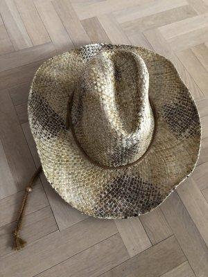 Sombrero de vaquero beige-marrón-negro cáñamo