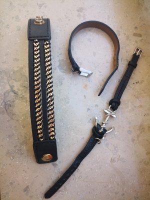 Cooler Damen Modeschmuck Armbänder im Lederlook, getragen