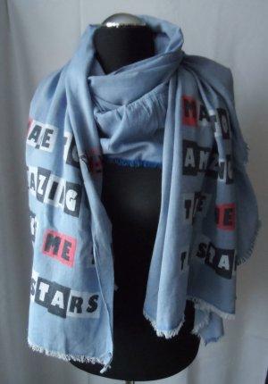 cooler Esprit XXL Schal Blau mit großer Rüsche 1 x getragen