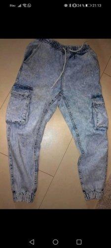 Bershka Jeans baggy bleu azur-bleu fluo