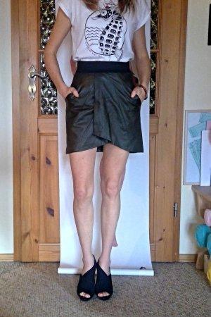 Amisu Faux Leather Skirt khaki-black