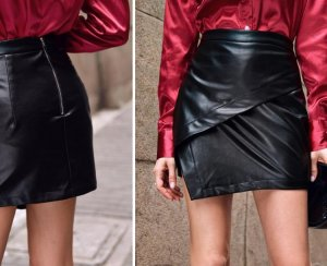 SheIn Leather Skirt black