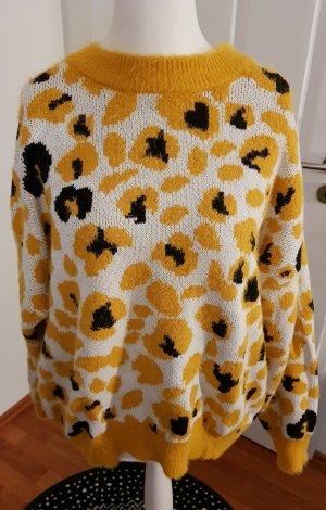 cooler oversizepullover gepard gelb weiß gr.l