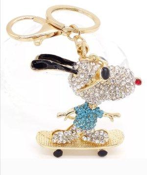 cooler Schlüssel-/Taschenanhänger glitzer Snoopy auf Skateboard blau NEU