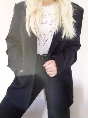 Vintage Boyfriend blazer zwart-donkerblauw Wol