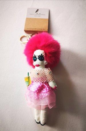 cooler stylischer Schlüssel - /Taschenanhänger Puppe NEU pink