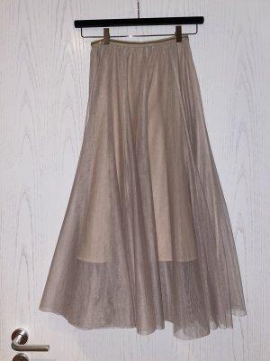 Tiulowa spódnica kremowy-różany